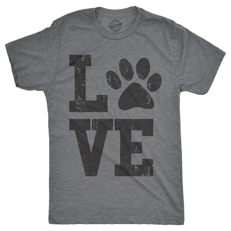 Mens Love Paw Tshirt Cute Adorable Pet Lover Valentines Day Tee For Guys
