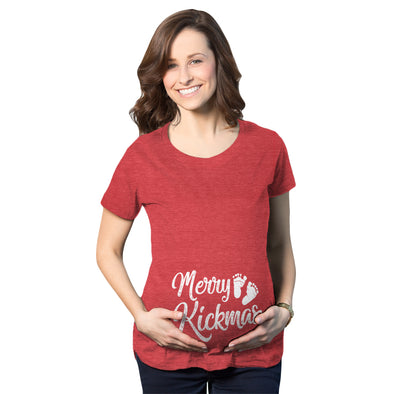 Maternity Merry Kickmas Pregnancy Tshirt Cute Christmas Tee