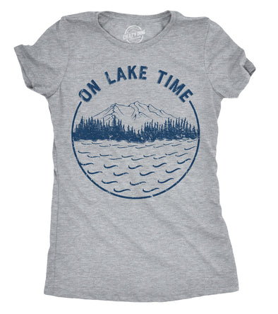 Womens On Lake Time Tshirt Funny Summer Vacation Outdoors Tee For Ladies