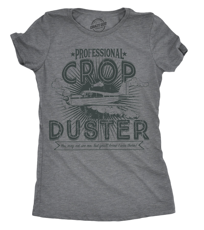 Womens Professional Crop Duster Tshirt Funny Farting Tee For Ladies