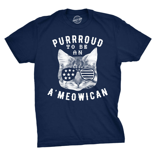 Mens Purroud To Be An Ameowican Tshirt Funny 4th Of July Cat Tee For Guys