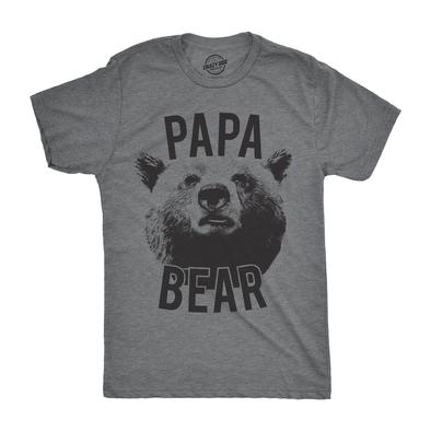 Mens Papa Bear Tshirt Funny Fathers Day Grizzy Tee For Guys