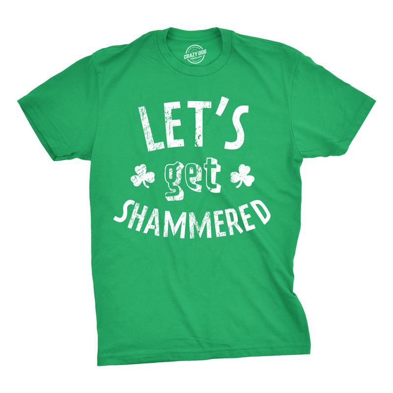 Mens Shammered Tshirt Funny St Patricks Day Green Drinking Tee For Guys