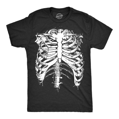 Mens Splattered Rib Cage Tshirt Cool Skeleton Costume Halloween Tee For Guys