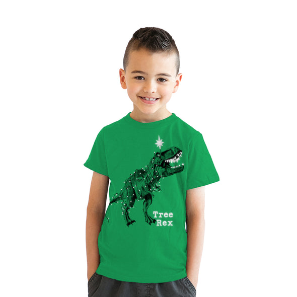 Youth Tree Rex Tshirt Funny Christmas T-Rex Dinosaur Tee For Kids