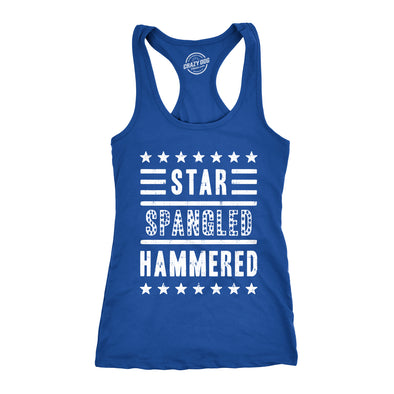 Womens Star Spangled Hammered Funny Workout Shirts Sleeveless Ladies Fitness Tank Top