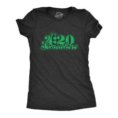 Womens It's 4:20 Somewhere Tshirt Funny Marijuana Weed Smoking Novelty Tee