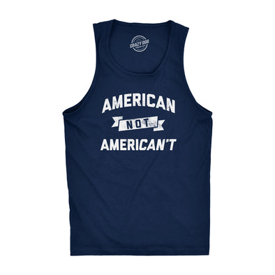 Mens Fitness Tank American Not Americant Tanktop Funny USA Pride 4th of July Shirt