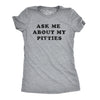 Womens Ask Me About My Pitties Tshirt Funny Flip Up Dog Pitbull Tee