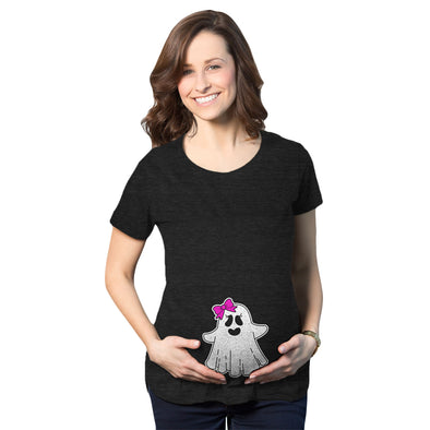 Maternity Baby Girl Ghost Pregnancy Tshirt Cute Funny Halloween Costume Tee