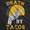 Womens Death By Tacos Tshirt Funny Halloween Skeleton Tee