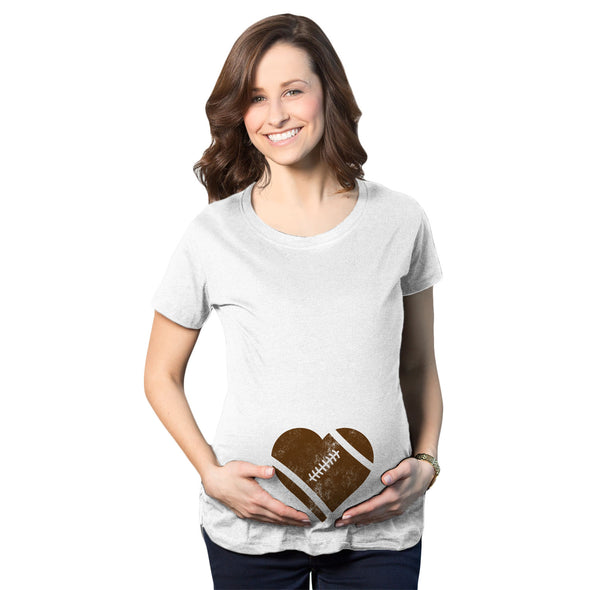 Maternity Football Heart Pregnancy Tshirt Cute Fall Sports Tee For Mom To Be