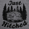 Womens Just Hitched Tshirt Funny Newlyweds Camping Tee