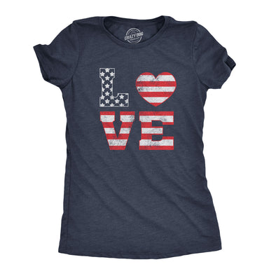 Womens Love American Flag Tshirt Cute 4th Of July Tee
