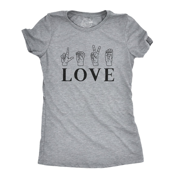 Womens Love Sign Language Tshirt Cute ASL Valentine's Day Tee