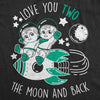 Maternity I Love You Two The Moon And Back Tshirt Funny Twins Pregnancy Tee