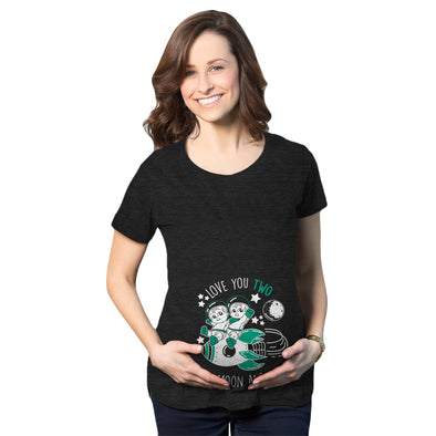 I Love You Two The Moon And Back Maternity Tshirt