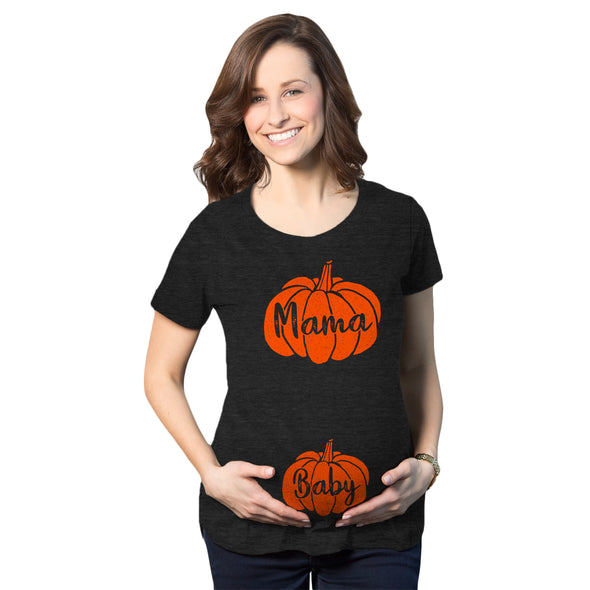 Maternity Mama And Baby Pumpkin Tshirt Cute Family Halloween Pregnancy Tee