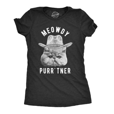 Womens Meowdy Purr'tner T Shirt Hilarious Cowboy Cat Tee Kitty Owner Gift