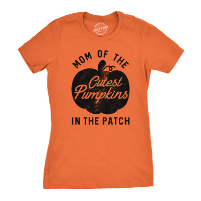 Womens Mom Of The Cutest Pumpkins In The Patch Tshirt Funny Halloween Tee