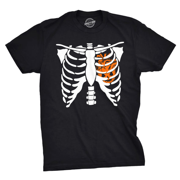 Pumpkin Heart Rib Cage Men's Tshirt