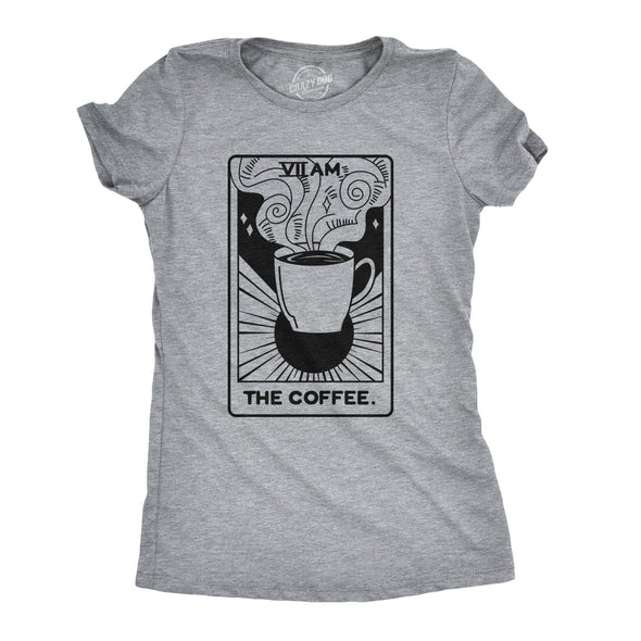 Womens Coffee Tarot Card Tshirt Funny Morning Cup Fortune Teller Tee