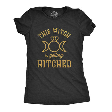 Womens This Witch Is Getting Hitched Tshirt Funny Halloween Wedding Bride Tee