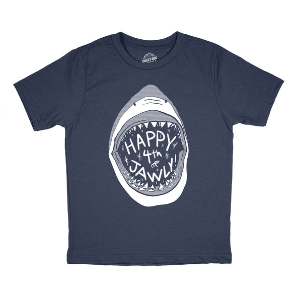 Youth Happy 4th of Jawly Tshirt Funny 4th of July Shark Independence Day Graphic Tee