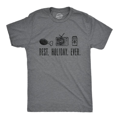 Mens Best Holiday Ever Tshirt Funny Thanksgiving Football Drinking Graphic Tee