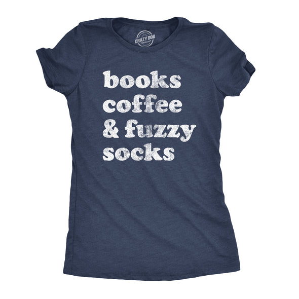 Womens Books Coffee And Fuzzy Socks T shirt Funny Gift for Her Cottage Lake Tee