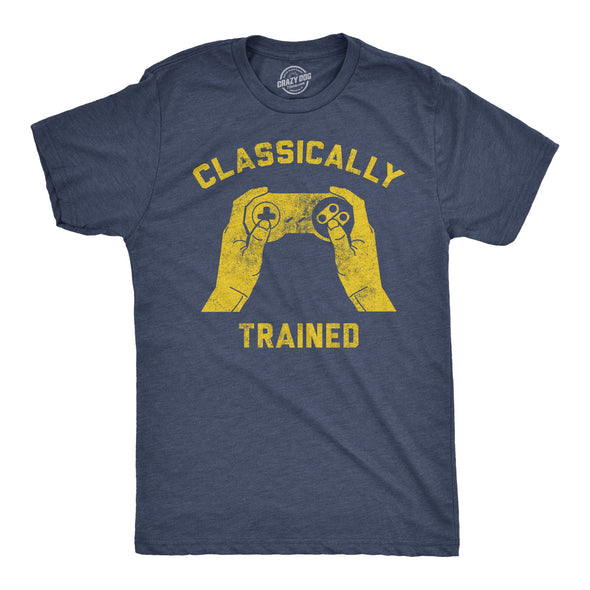 Mens Classically Trained T shirt Funny Gaming Gift Nerd Gamer Retro Geek Tee