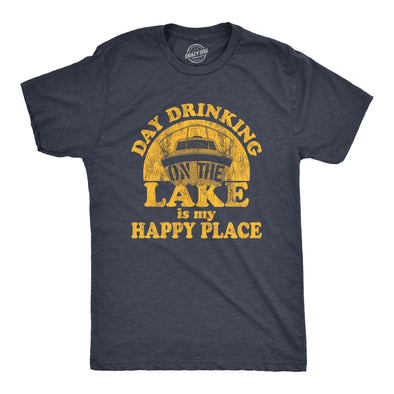 Mens Day Drinking On The Lake Is My Happy Place Tshirt Funny Summer Boating Vacation Graphic Tee