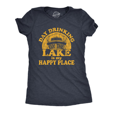 Womens Day Drinking On The Lake Is My Happy Place Tshirt Funny Summer Boating Vacation Graphic Tee