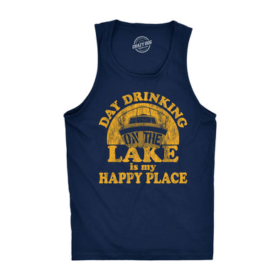 Mens Fitness Tank Day Drinking On The Lake Is My Happy Place Tanktop Funny Summer Boating Vacation Shirt