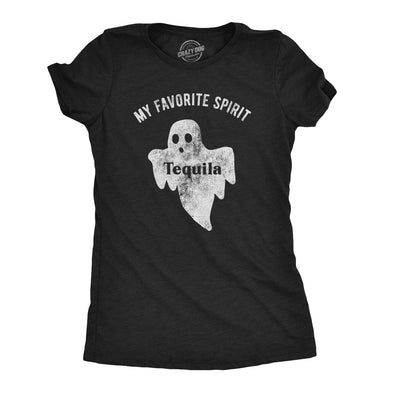 Womens My Favorite Spirit Tequila Tshirt Funny Halloween Ghost Drinking Party Tee