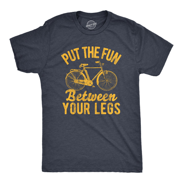 Mens Put The Fun Between Your Legs Tshirt Funny Bicycle Biking Cruiser Novelty Tee