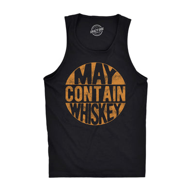 Mens Fitness Tank May Contain Whiskey Tanktop Funny Liquor Drinking Party Graphic Sleeveless