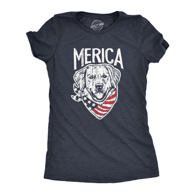 Womens Merica Dog Tshirt Funny USA Flag Bandana Pet Puppy Lover Tee