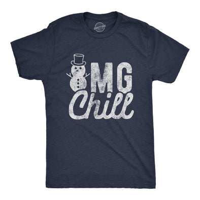 Mens OMG Chill Tshirt Funny Winter Weather Snowman Graphic Novelty Tee