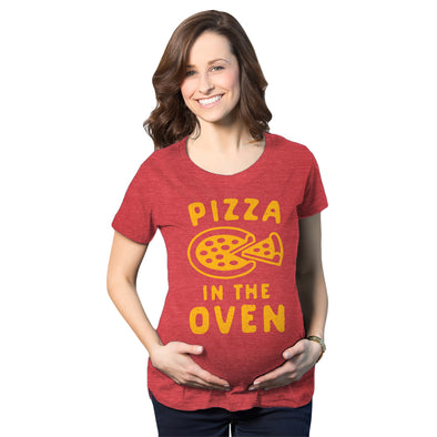 Maternity Pizza In The Oven Tshirt Funny Pregnancy Italian Food Announcement Tee