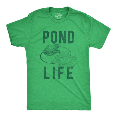 Mens Pond Life Graphic Tshirt Funny Summer Toad Frog Lilypad Novelty Graphic Tee