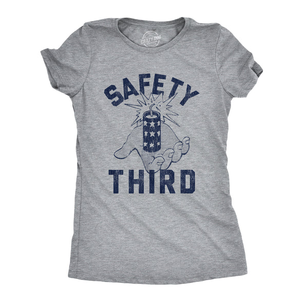 Womens Safety Third Tshirt Funny 4th of July Fireworks Show Summer Graphic Novelty Tee