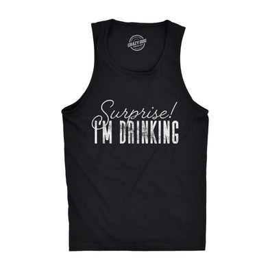 Mens Fitness Tank Surprise I'm Drinking Tanktop Funny Beer Party Graphic Novelty Tank top