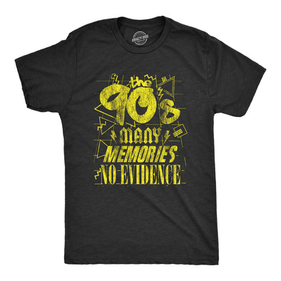 Mens The 90s Many Memories No Evidence Tshirt Funny Decade Nineties Tee