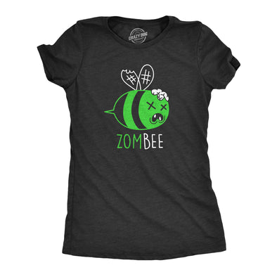 Womens Zombee Tshirt Funny Zombie Halloween Bumble Bee Novelty Graphic Tee