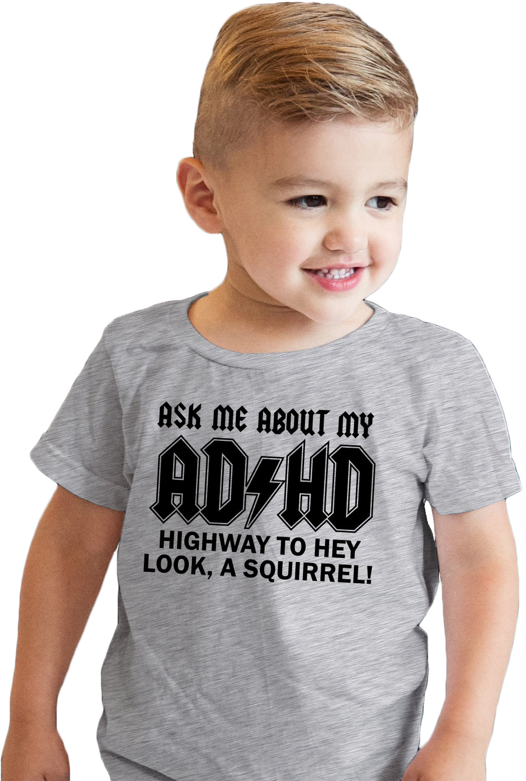 Toddler Ask Me About My ADHD Tshirt Funny Sarcastic Squirrel Flip Up Tee
