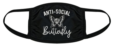 Anti-Social Butterfly Face Mask Funny Introvert Skull Graphic Novelty Nose And Mouth Covering