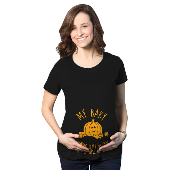 Maternity My Baby Loves Halloween Cute Pumpkin Pregnancy Halloween Tshirt