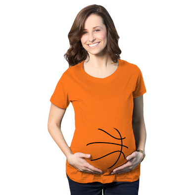 Maternity Basketball Bump Announcement Funny Pregnancy Gift Tee for Ladies