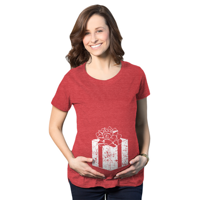 Maternity Belly Present Funny T shirts Christmas Pregnancy Announcement T shirt